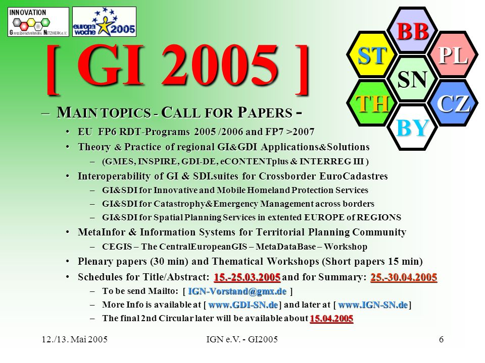 [ GI 2005 ] MAIN TOPICS - CALL FOR PAPERS -